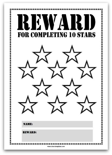 10 Stars Printable Reward Chart in Black