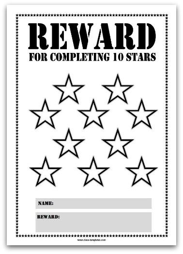 10 Stars Printable Reward Chart in Black