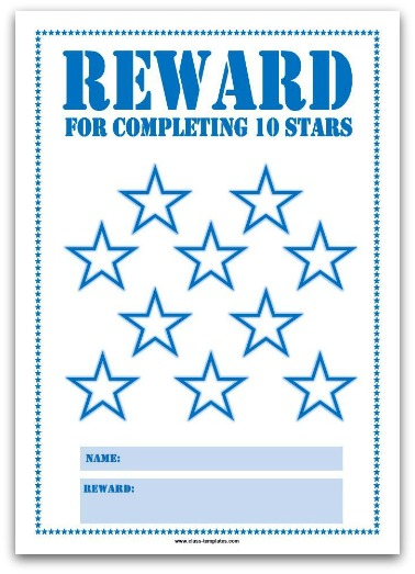 10 Stars Printable Reward Chart in Blue