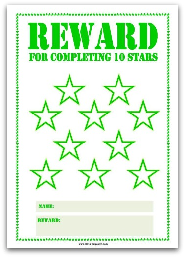 10 Stars Printable Reward Chart in Green
