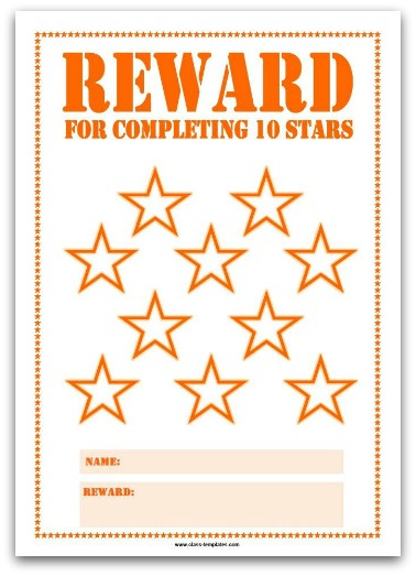 Printable Reward Chart in Orange