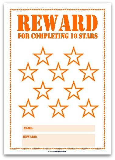 Printable Reward Chart in Orange