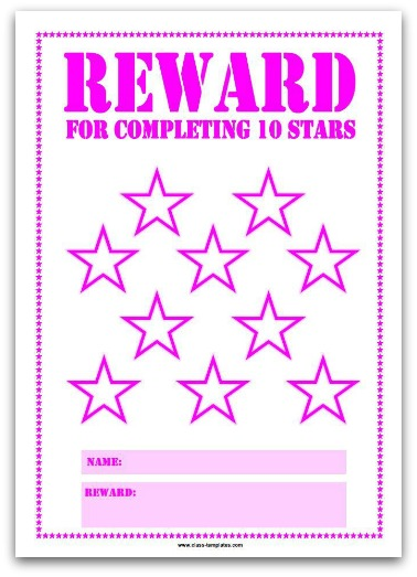 10 Stars Printable Reward Chart in Pink