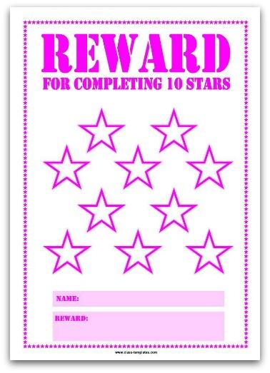 10 Stars Printable Reward Chart in Pink