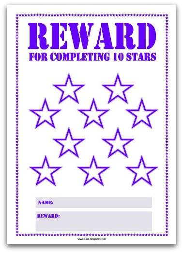 10 Stars Printable Reward Chart in Purple
