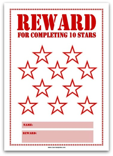 10 Stars Printable Reward Chart in Red