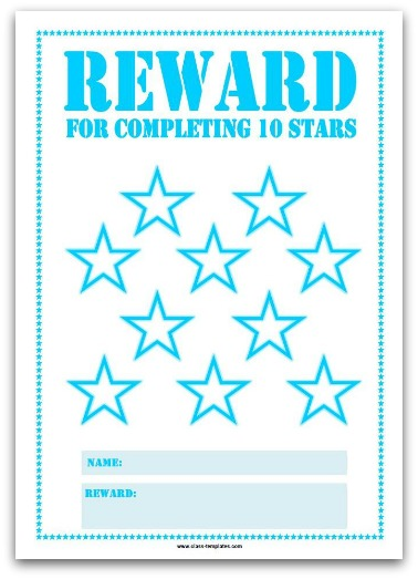 10 Stars Printable Reward Chart in Turquoise