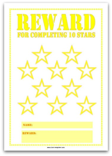 10 Stars Printable Reward Chart in Yellow