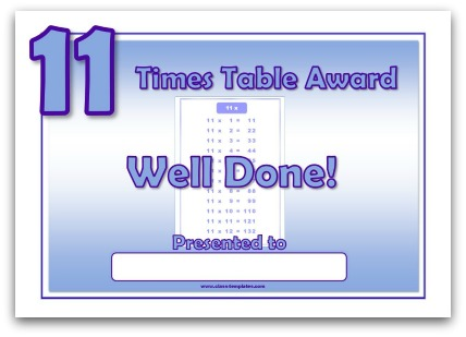 11 times table award certificate
