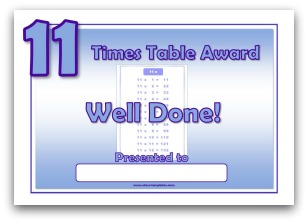 11 times table award certificate template