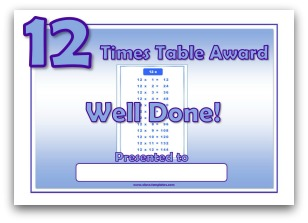 12 times table award certificate template