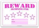 5 Star Reward Chart for Kids in Pink