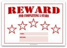 5 Star Reward Chart for Kids in Red
