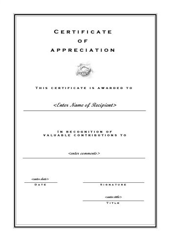 Certificate of appreciation 102 a4 portrait formal for Certificate of appreciation template publisher