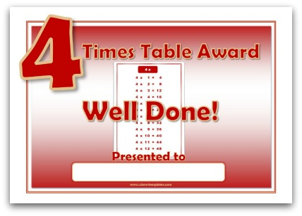 4 times table award certificate