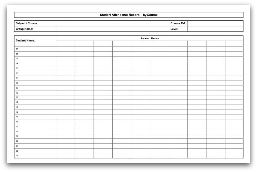 printable course attendance sheet in pdf format