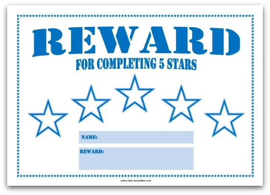 5 Star Reward Chart for Kids in Blue