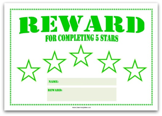 5 Star Reward Chart for Kids in Green