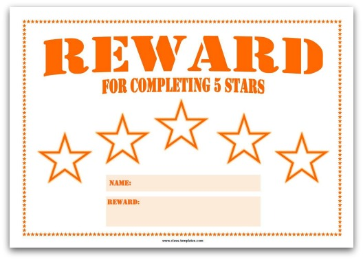 5 Star Reward Chart for Kids in Orange