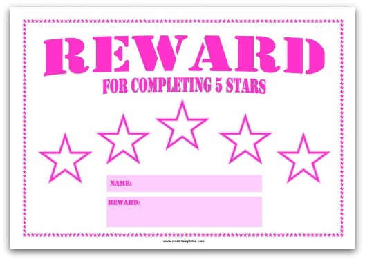 5 Star Reward Chart for Kids in Pink