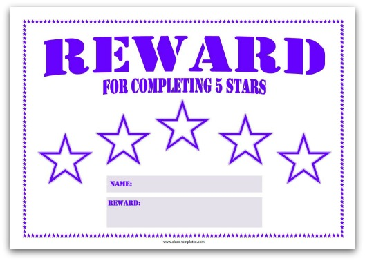 5 Star Reward Chart for Kids in Purple