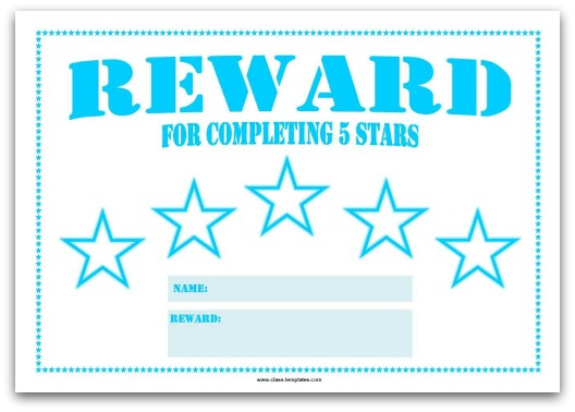 5 Star Reward Chart for Kids in Turquoise