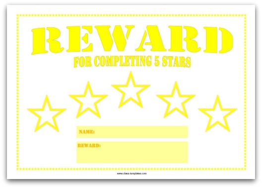 5 Star Printable Reward Chart for Kids in Yellow