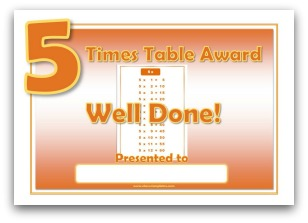 5 times table award certificate template