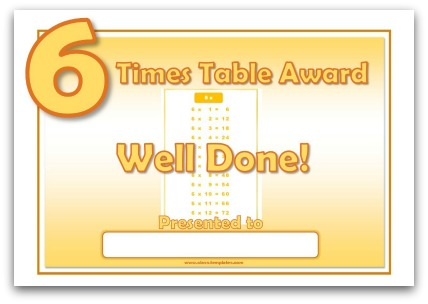 6 Times Table Award Certificate Template
