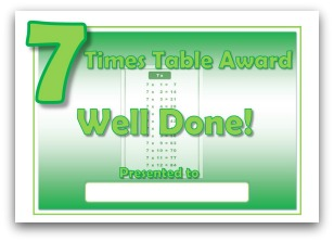 7 times table award certificate template