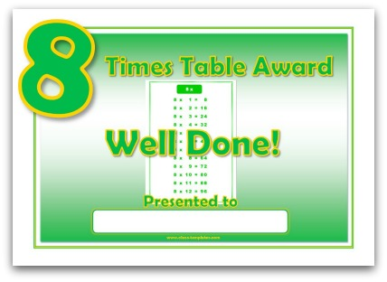 8 times table award certificate