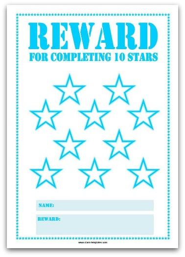 10 Stars Printable Reward Chart in Turquoise