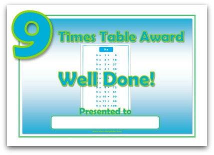11 times table award certificate 9 times table award certificate template yadclub Choice Image