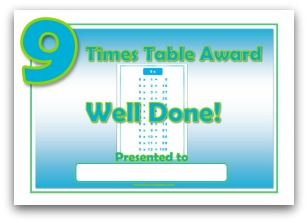 9 times table award certificate template
