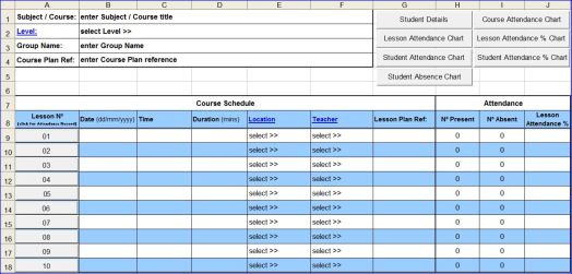 Course Attendance Excel Template – Sample Attendance Tracking