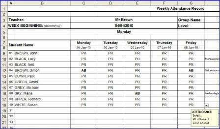 Weekly Attendance Sheet in MS Excel format