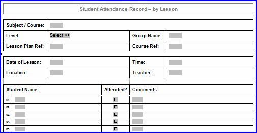 Printable Lesson Attendance Sheet