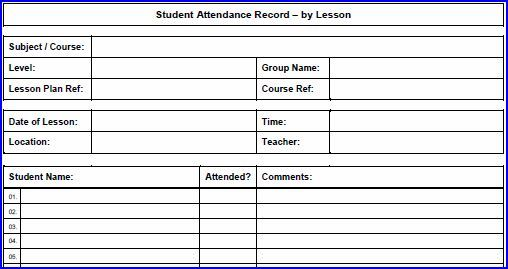 Printable Lesson Attendance Sheet in PDF format