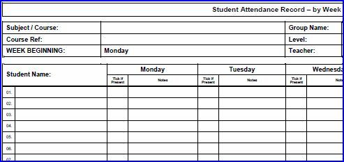 classroom attendance sheet template – Downloadable Attendance Sheet