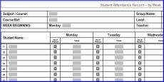weekly attendance sheet template excel