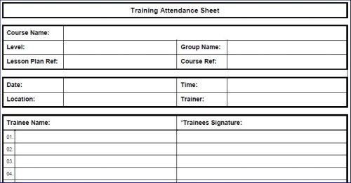 Printable Training Attendance Sheet in PDF format