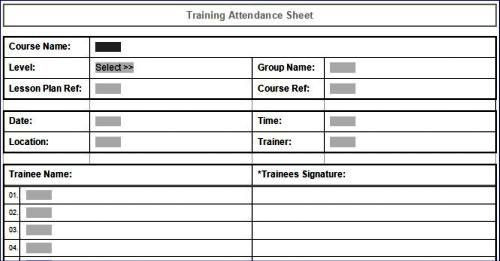 Training Attendance Sheet in MS Word format