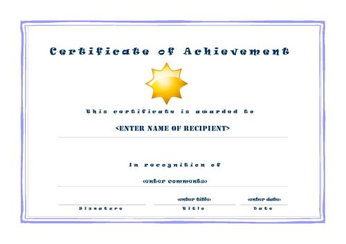 Certificate of Achievement 001 - A4 Landscape - Casual