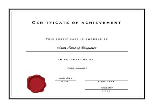 Certificate of achievement 002 for Ms office certificate template