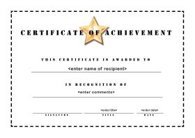 free printable certificates of achievement - Free Printable Certificate Of Achievement Template