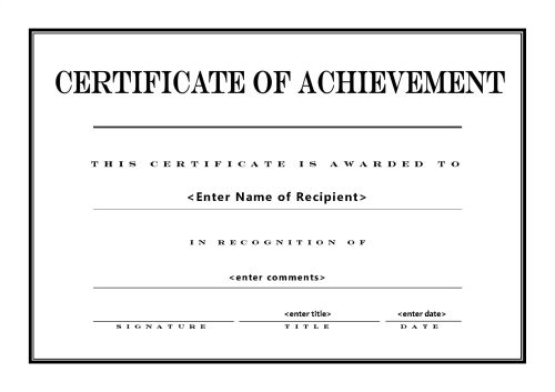 Free Printable Certificates of Achievement – Template Certificate of Achievement