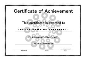 Free Printable Certificates Of Achievement   A4 Landscape   Circles  Certificate Of Achievement Sample