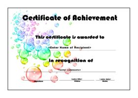 Free Printable Certificates Of Achievement   A4 Landscape   Bubbles  Certificate Of Achievement Sample