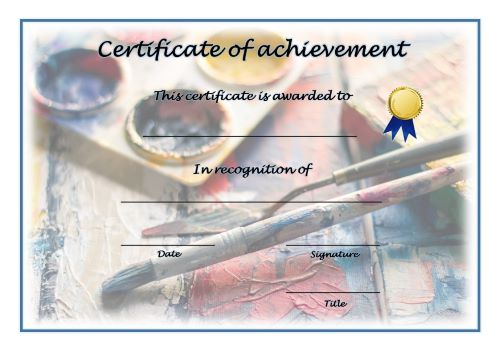 Certificate of Achievement - A4 Landscape - Painting
