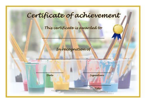 Certificate of Achievement - A4 Landscape - Art